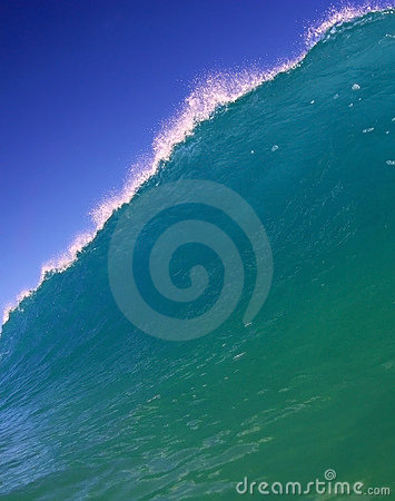 Blue Ocean Wave and Blue Sky in Hawaii