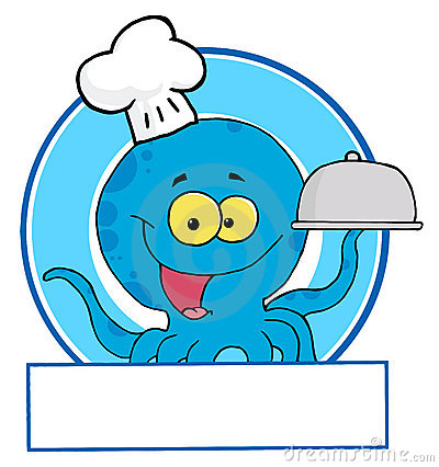 Blue octopus chef