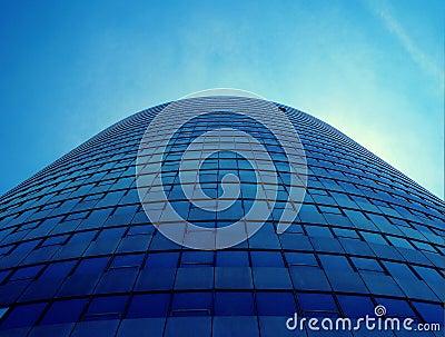 Blue Office Building, upward view