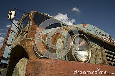 Blue old-fashioned car