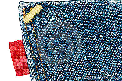 Blue old jeans pocket with empty red label