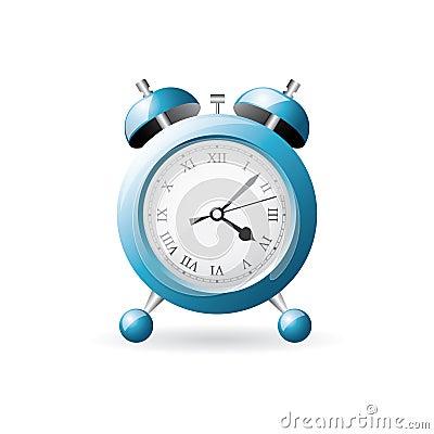 Blue old style alarm clock
