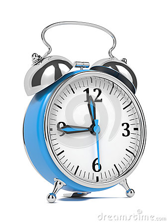 Blue Old Style Alarm Clock  on White.