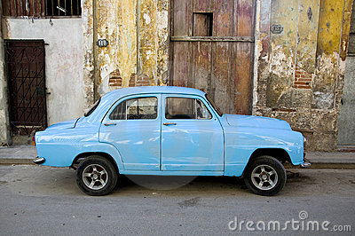 Blue oldtimer on the street