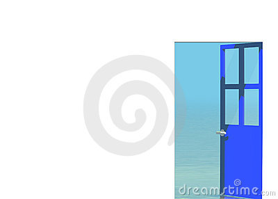 Blue open door looking to sea landscape outside