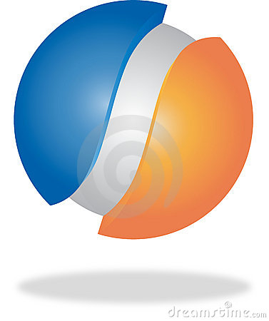 Blue, orange and grey 3d logo or button