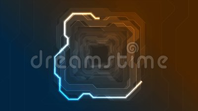 Blue orange neon abstract tech geometric motion background stock footage
