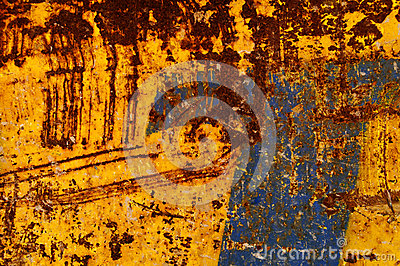 Blue and orange rusty background