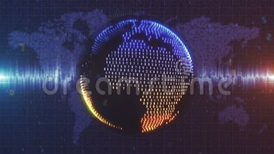 Blue and orange animated Earth made from numerical data. Blue and orange tinted animated motion graphic of data Earth model rotating in space with jagged royalty free illustration