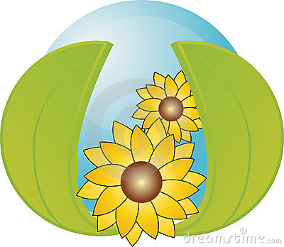 Blue orb with 2 leaves and sunflowers