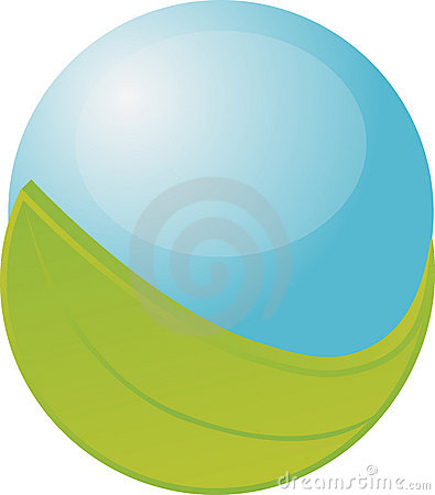 Blue orb with leaf