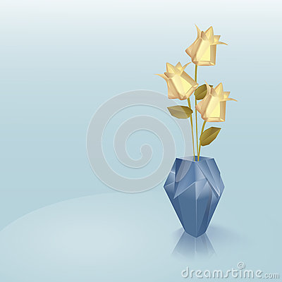 Blue origami vase with yellow roses