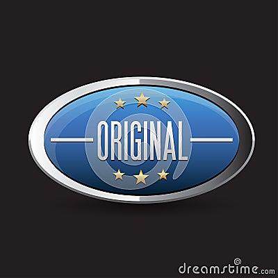 Blue Original button retro style