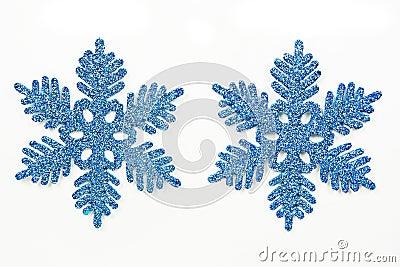 Blue ornamental snowflakes