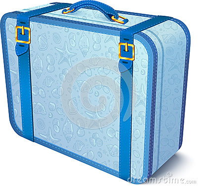 Blue ornate traveler s vector suitcase