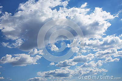 Blue overcast sky in cumulus clouds
