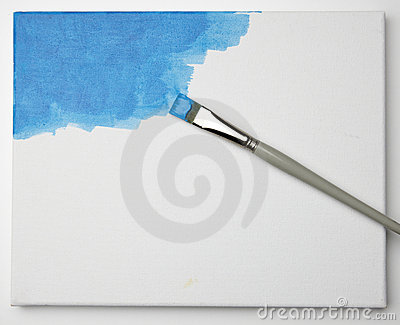Blue paint on canvas