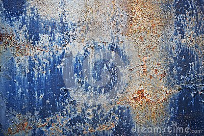 Blue Paint Corroded Metal