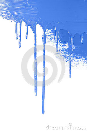 Blue paint  flows / isolated on white background with copy space