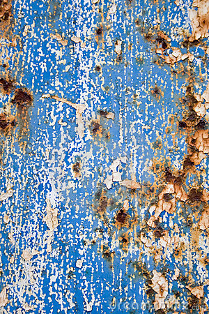 Blue paint and rust grunge background