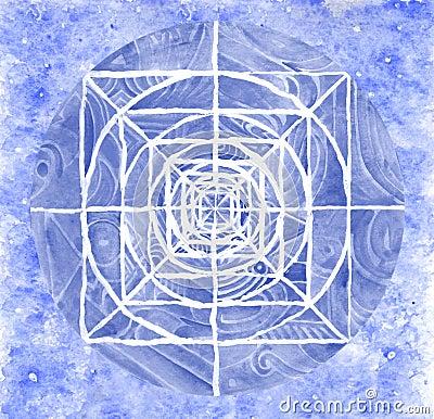 Blue painted mandala artwork