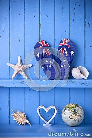 Australian Flag Thongs Starfish Background