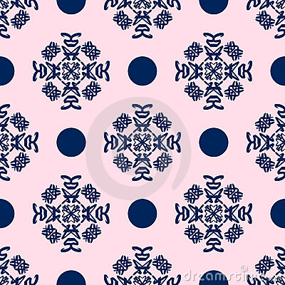 Blue and Pale Pink Damask Seamless Pattern
