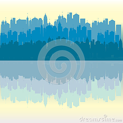 Blue panorama urban city background