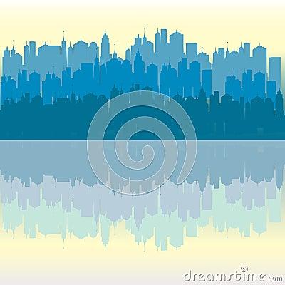 Blue panorama urban city background