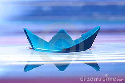 Blue paper boat
