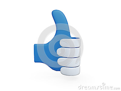 Blue paper hand thumb up