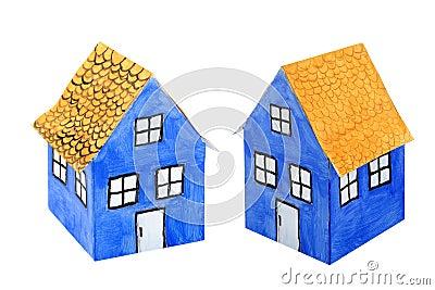 Blue paper house