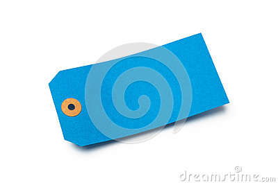 Blue cardboard or paper luggage tag  on white