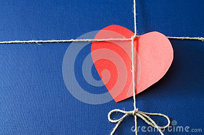 Blue paper package with valentine card