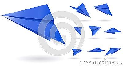 Blue paper planes