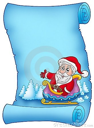 Blue parchment with Santa on sledge
