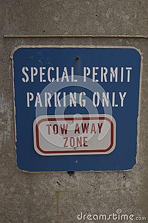 Blue parking sign