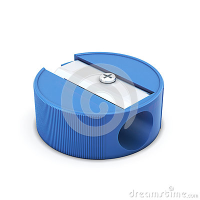 Free Blue Pencil Sharpener On A White Stock Image - 56648351