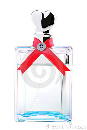 Blue perfume with red ribbon and heart shaped lid