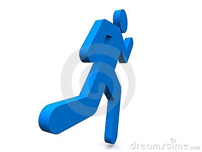 Blue person running