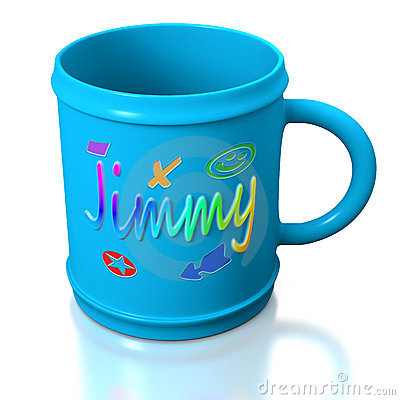 Blue personalized plastic mug