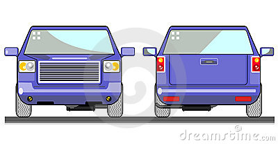 Blue pick up truck front view