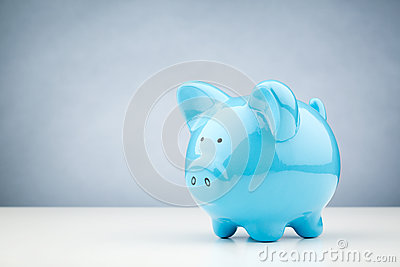 Blue Piggy Bank on a Table