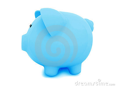 Blue piggybank from the side