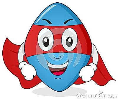 Blue Pill Superhero Cartoon Character