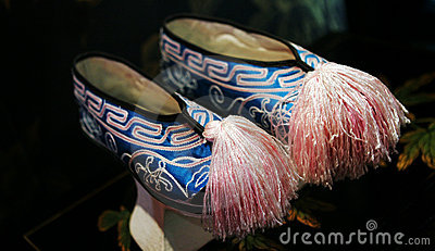 Blue and pink Asian shoes