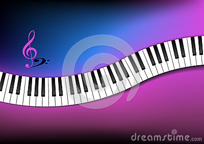 Blue and Pink Background Curved Piano Keyboard