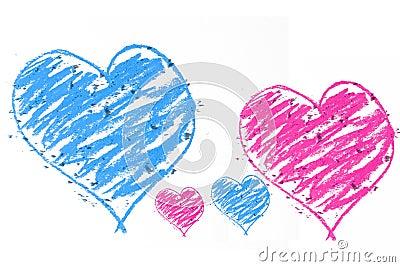 Blue an pink doodle heart