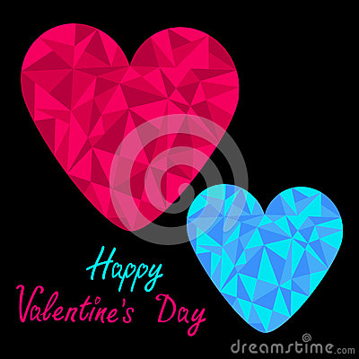 Blue and pink hearts. Polygonal effect. Black back