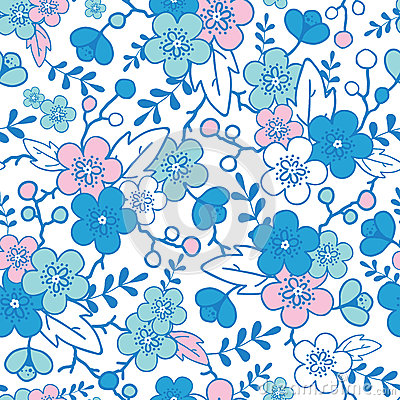 Blue and pink kimono blossoms seamless pattern